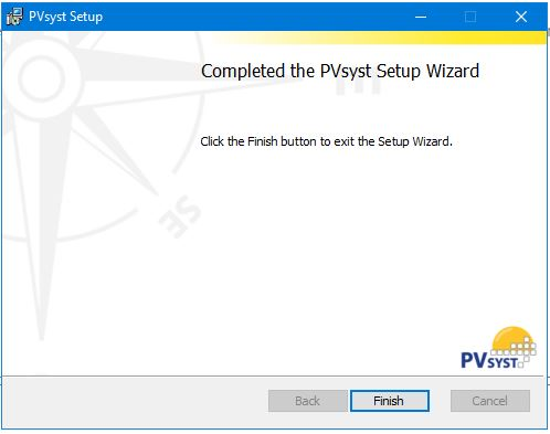 Completed PVSyst installation
