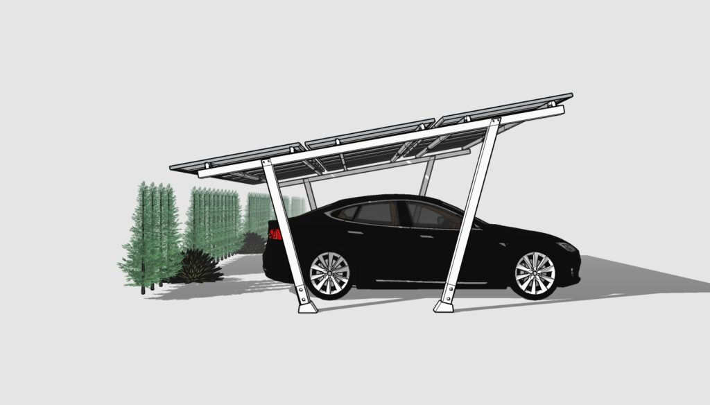 electric vehicle under a solar carport