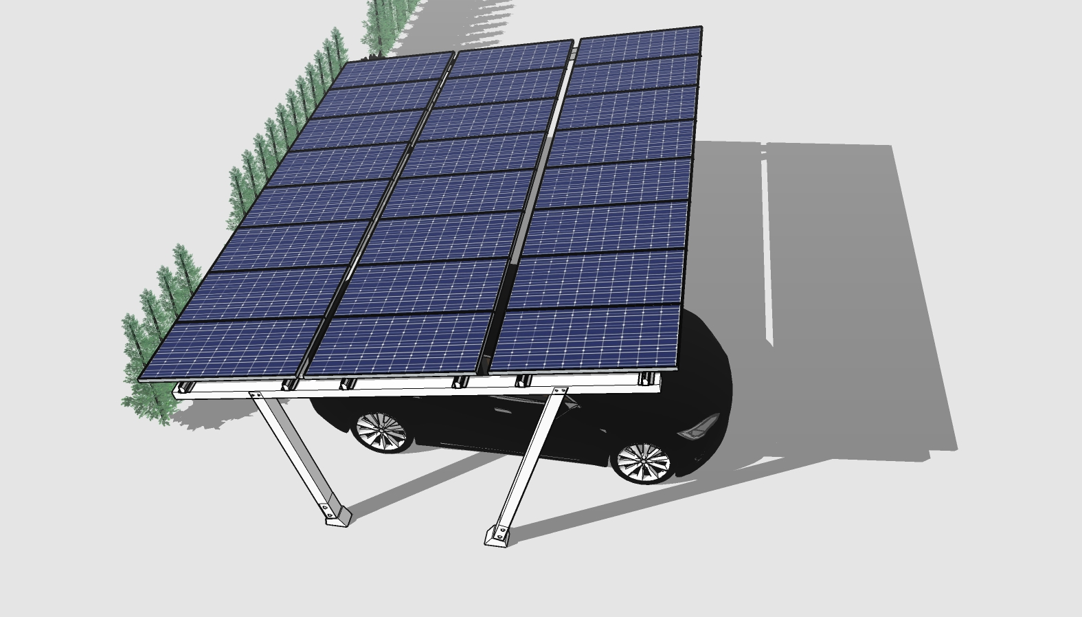 solar panels above a Tesla car