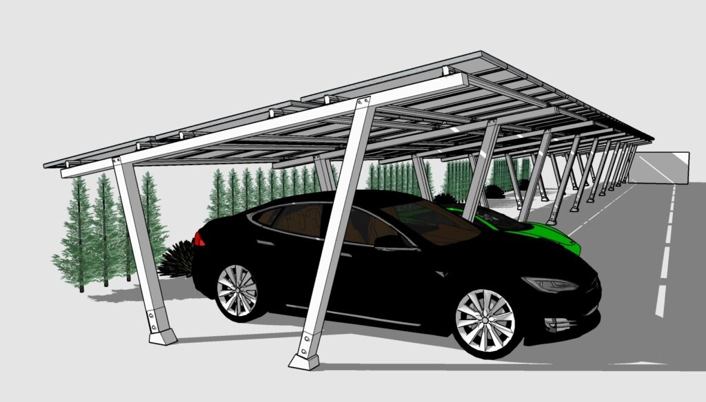solar carport for Tesla cars